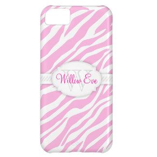 Zebra Print (Pale Pink) Custom Monogram Case iPhone 5C Covers