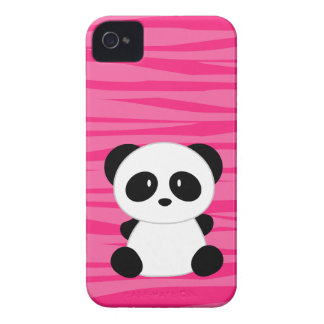 Zebra Print Panda Pink iPhone 4 Case