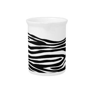 Zebra Print Pattern - Black and White Pitcher