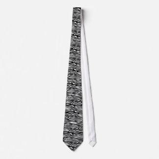 Zebra Print Pattern - Black and White Tie
