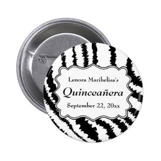 Zebra Print Pattern Quinceanera Buttons