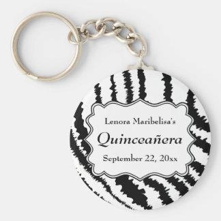 Zebra Print Pattern Quinceanera Basic Round Button Key Ring