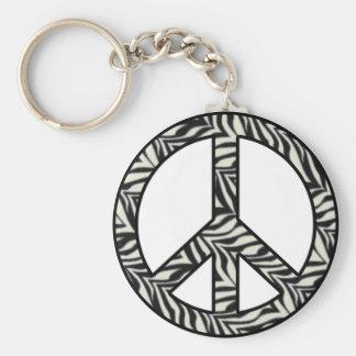 Zebra Print Peace Sign Keychain