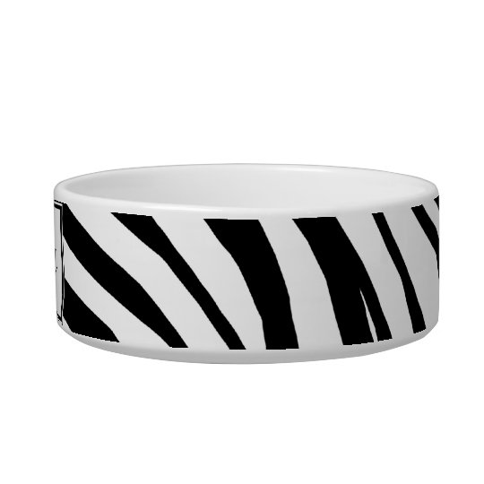 Zebra Print Personalised Cat Bowl