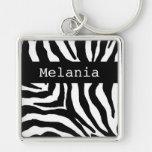Zebra Print Personalised Name Key Chain