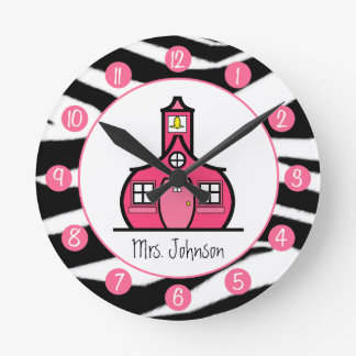 Zebra Print Personalized Clock For Teachers