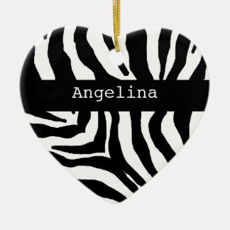 Zebra Print Personalized Name Ornament