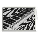 Zebra Print Piano Keyboard Greeting Card