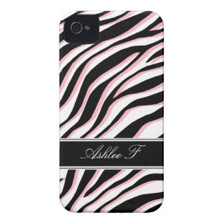Zebra Print Pink Black & White iPhone 4 Case