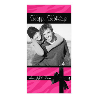 Zebra print pink christmas photocard card