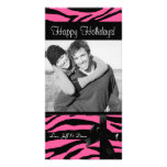 Zebra print pink christmas photocard photo card template