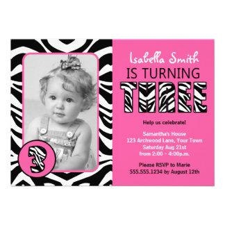 Zebra Print Pink Girls Third Birthday Custom Invitations