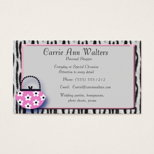 Zebra Print & Pink Handbag Fashion Business Card