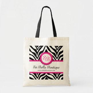 Zebra Print & Pink Lace Monogram / Initials Tote Budget Tote Bag