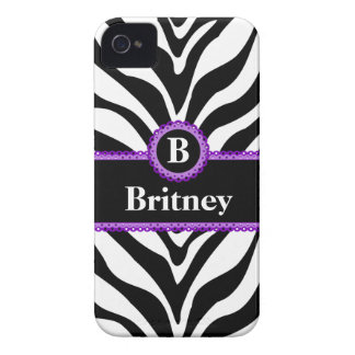 Zebra Print Purple Lace Monogram Name iPhone 4 Case-Mate Case