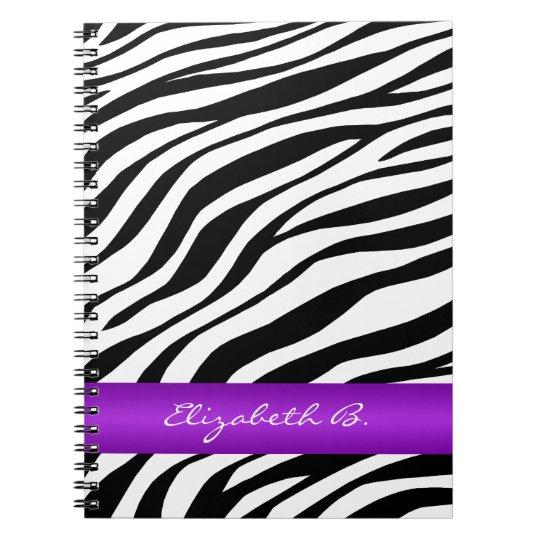 Zebra Print Purple Stripe Personalised Notebook