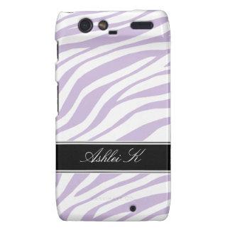 Zebra Print Purple White Droid RAZR Case