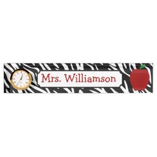 Zebra Print Red Apple Teacher Nameplate