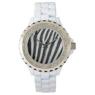 Zebra Print Rhinestone White Enamel Watch