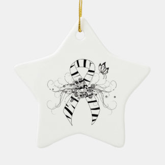 Zebra Print Ribbon with Butterfly Christmas Ornament