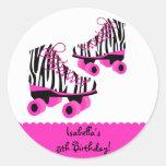 Zebra Print Roller Skates Birthday Favour Stickers