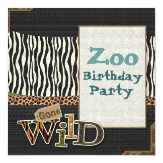 "Zebra print Safari Zoo Birthday Party Invitation 5.25"" Square Invitation Card"