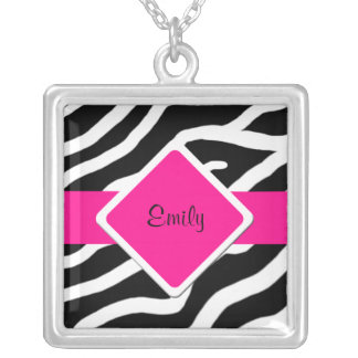 Zebra Print Silver Pendant Name Necklace