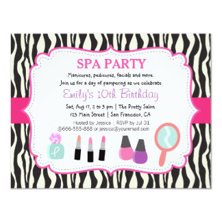 Zebra Print Spa Birthday Party Invitation