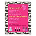 Zebra Print, Spa Party, For Girls Custom Announcement