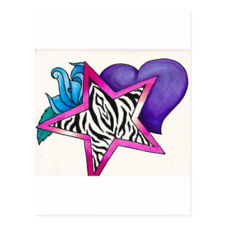 Zebra Print Star Postcard