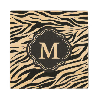 Zebra Print Stripes Monogrammed Animal Pattern Wood Coaster