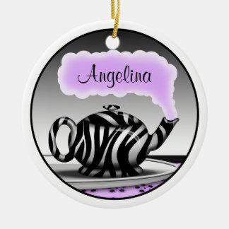 Zebra Print Teapot Purple Round Ornament