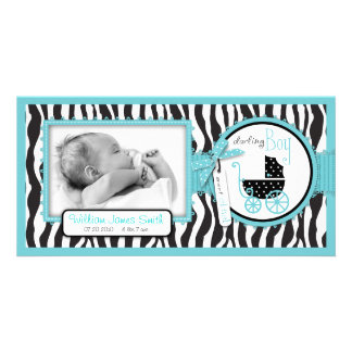 Zebra Print Turquoise Accent Birth Announcement Photo Greeting Card