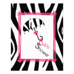 Zebra Print Umbrella Baby Shower Invitation