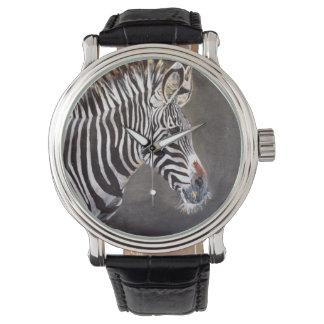 Zebra Print Vintage Black Leather Watch