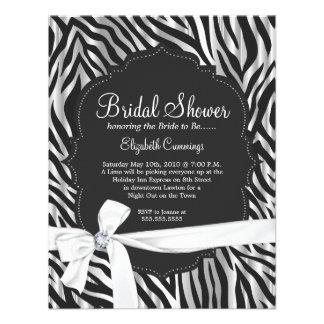 Zebra Print White Ribbon Diamond Fashion Bridal Personalized Invites