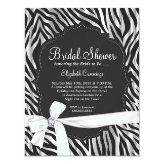 """Zebra Print White Ribbon & Diamond Fashion Bridal 4.25"""" X 5.5"""" Invitation Card"""