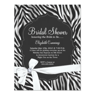 Zebra Print White Ribbon & Diamond Fashion Bridal Personalized Invites