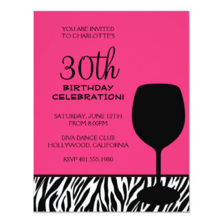 "zebra print wine birthday 4.25"" x 5.5"" invitation card"