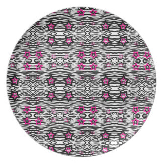 Zebra Print With Pink Stars - 80s Rock Plate