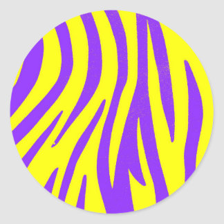Zebra Purple and Yellow Abstract Animal Prints Art Round Sticker