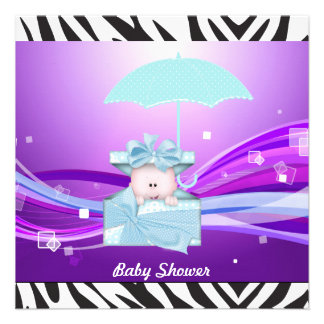 Zebra Purple Baby Shower Party Custom Announcement