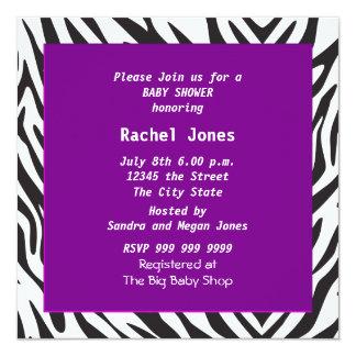 Zebra Purple Baby Shower Party 5.25x5.25 Square Paper Invitation Card