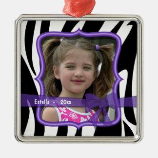 Zebra Purple Bow Dated Photo Keepsake Ornament