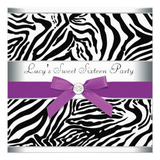 Zebra Purple Bow Purple Zebra Sweet 16 Birthday Custom Invitation