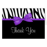 Zebra Purple Bow Thank You Note Card