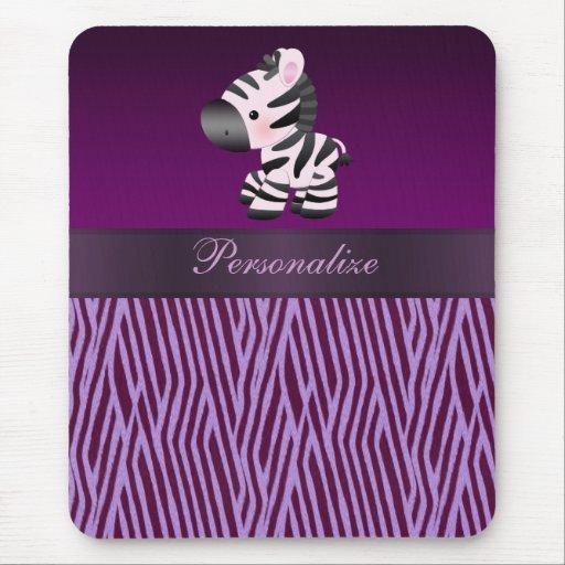 Zebra & Purple Faux Texture Animal Print Mousepad