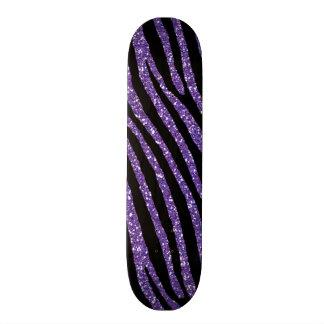 Zebra Purple Glitter Chic Elegant Print Skateboard Decks