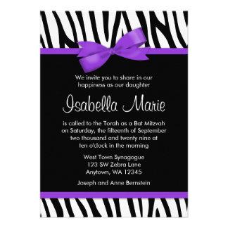 Zebra Purple Printed Bow Bat Mitzvah Invitations Personalized Invitation