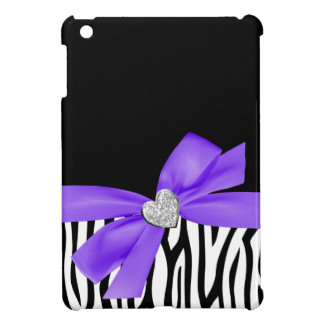 Zebra Purple Printed Bow Diamond Heart Case For The iPad Mini